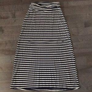 JCrew cotton maxi skirt. Navy and cream.